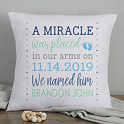 Baby Boy's Story 18-Inch Photo Keepsake Pillow in Blue/White