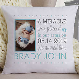 Baby Boy's Story 18-Inch Photo Keepsake Pillow in Blue/Grey