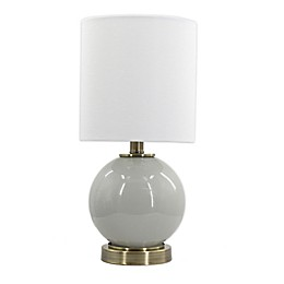 Designs Direct Glass Lamp with Metal Base and White Linen Shade