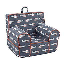 Kangaroo Trading Company Classic Kid's Planes Print Grab-n-Go Foam Chair in Grey/Orange