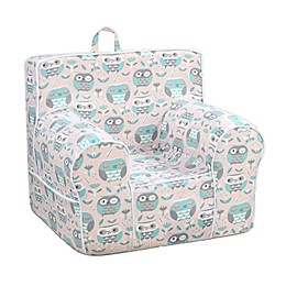 Kangaroo Trading Company Classic Kid's Owl Print Grab-n-Go Foam Chair in Blush/Teal