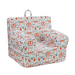 Kangaroo Trading Company Classic Kid's Owl Print Grab-n-Go Foam Chair in Grey/Orange