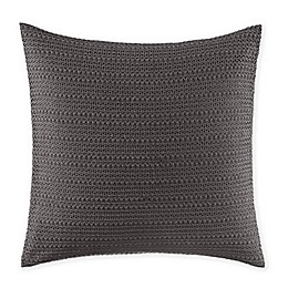 "VERA WANG LACE OVERLAY PILLOW 18"" X 18"" CHARCOAL"