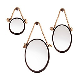 Southern Enterprises Melissa Round Hanging Mirrors in Black (Set of 3)