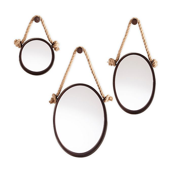 Alternate image 1 for Southern Enterprises Melissa Round Hanging Mirrors in Black (Set of 3)