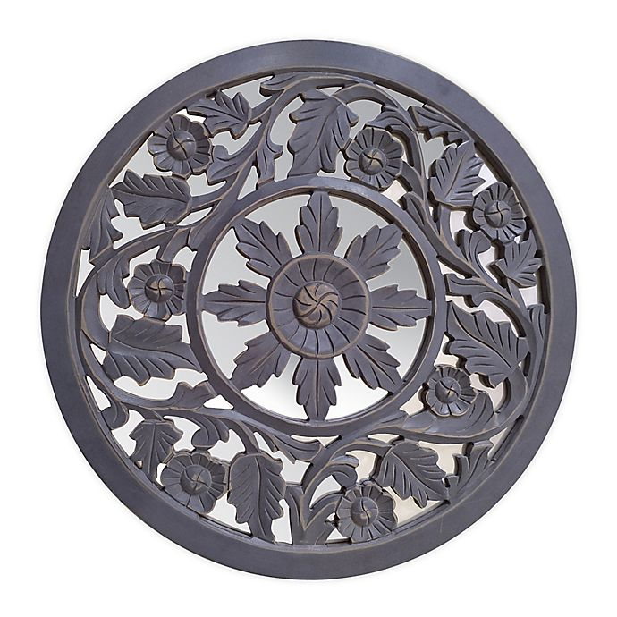 Alternate image 1 for Global Caravan™ Carved Peekaboo Mirror in Antique Grey