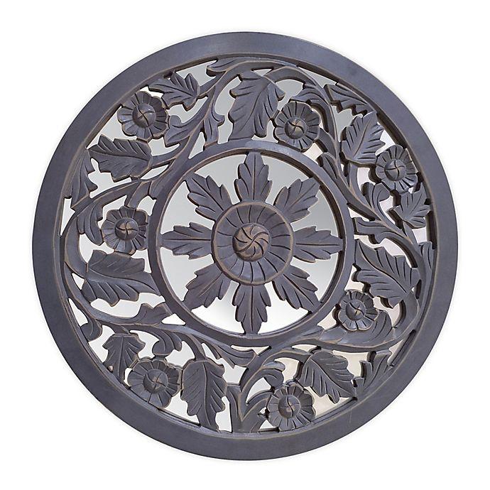 Alternate image 1 for Global Caravan™ Carved Peekaboo Mirror in Antique Grey