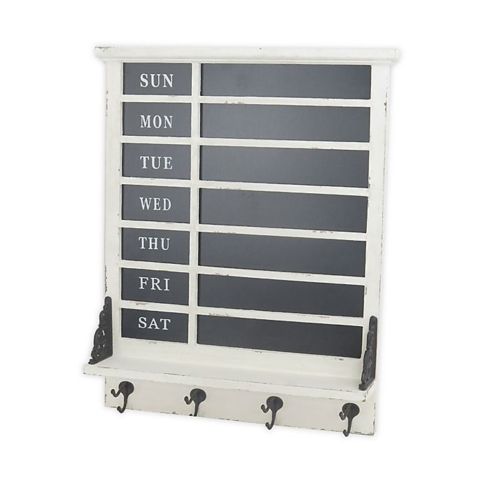 Alternate image 1 for Bee & Willow™ Home Days of the Week Chalkboard with 4 Hooks in White/Black
