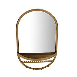 12-Inch x 20-Inch Oval Wall Mirror with Shelf and Jewelry Organizer in Gold