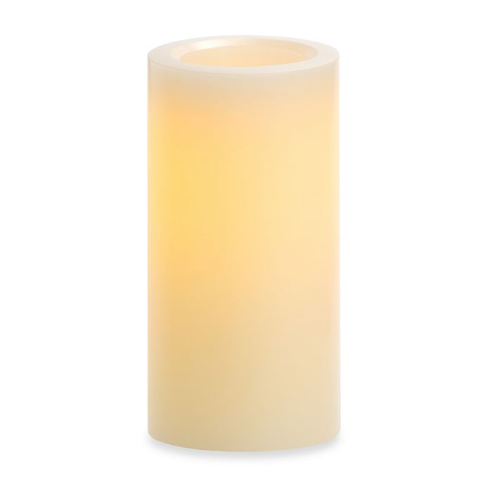 Alternate image 1 for Candle Impressions® 4-Inch x 8-Inch Flameless Wax Pillar Candle with Smooth Vanilla Fragrance