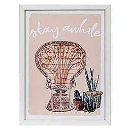 "Global Caravan™ ""Stay Awhile"" 16-Inch x 12-Inch Framed Wall Art in Pink"