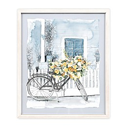 Designed Direct Watercolor Floral Bike 21.07-Inch x 17.07-Inch Printed Wall Art in Blue
