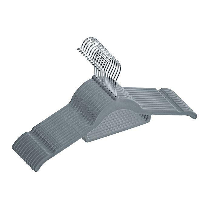Alternate image 1 for Real Simple® Slimline 12-Count Flocked Shirt Hangers in Grey