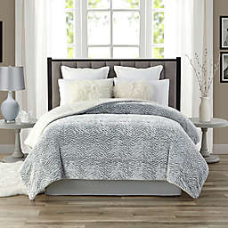 Tahari 3D-Carved Faux Fur and Sherpa Full/Queen Comforter in Pewter