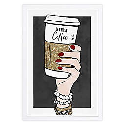 """But First Coffee"" 13-Inch x 19-Inch Framed Wall Art"