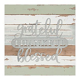 Sweet Bird & Co. Grateful, Thankful, Blessed 14-Inch Square Reclaimed Wood Wall Art