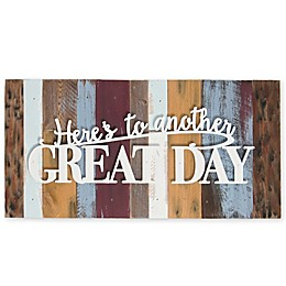 Sweet Bird & Co. Here's to Another Great Day 16-Inch x 8-Inch Reclaimed Wood Wall Art