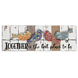 Sweet Bird & Co. Birds on Branch 18-Inch x 6-Inch Reclaimed Wood Wall Art