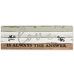 Sweet Bird & Co. Love is the Answer 24-Inch x 8-Inch Reclaimed Wood Wall Art