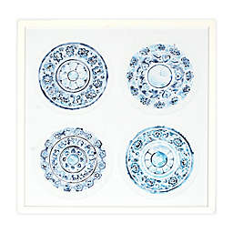 Global Caravan Porcelain Design 20.5-Inch Square Framed Wall Art