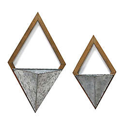 Diamond Galvanized Metal and Wood Wall Planters (Set of 2)