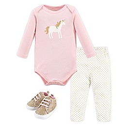 Hudson Baby® 3-Piece Long Sleeve Bodysuit, Pant, and Shoe Set