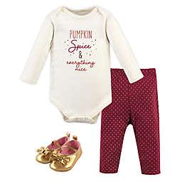 Hudson Baby® Sze 12-18M 3-Piece Pumpkin Spice Long Sleeve Bodysuit, Pant, and Shoe Set in Cream