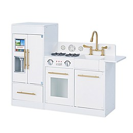 Teamson Kids Little Chef Chelsea Modern Play Kitchen in White/Gold