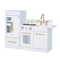 Teamson Kids Little Chef Chelsea Modern Play Kitchen in White/Gold