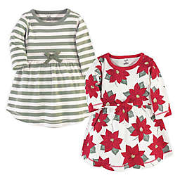 Touched by Nature Size 2T Long-Sleeve 2-Pack Poinsettia Organic Cotton Dresses in Red