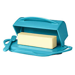 Butterie® Flip-Top Butter Dish with Spreader in Aqua