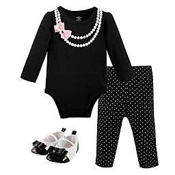 Little Treasure™ 3-Piece Pearls Long Sleeve Bodysuit, Pant and Shoe Set