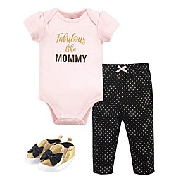 Little Treasure 3-Piece Short Sleeve Bodysuit, Pant and Shoe Set