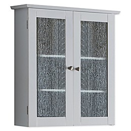 K&B Wood and Textured Glass Bathroom Wall Cabinet in White