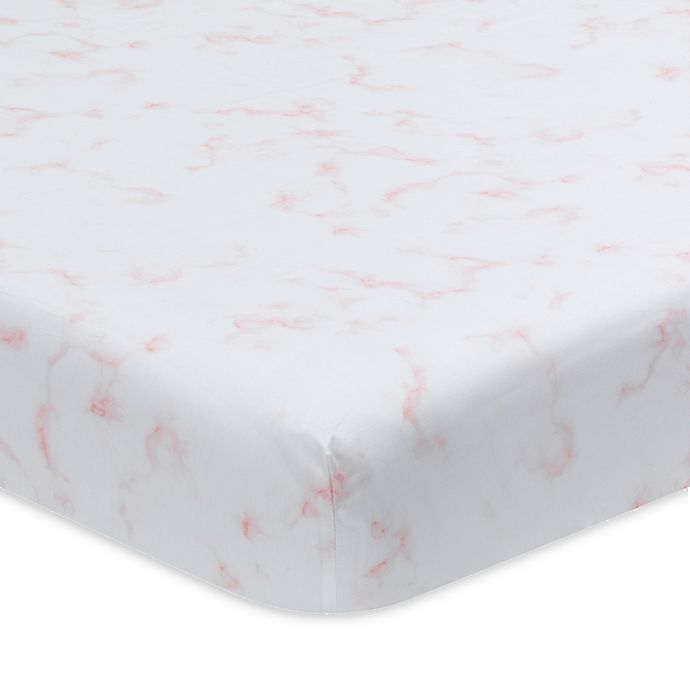 Alternate image 1 for Lambs & Ivy® Signature Separates Marble Fitted Crib Sheet in Pink