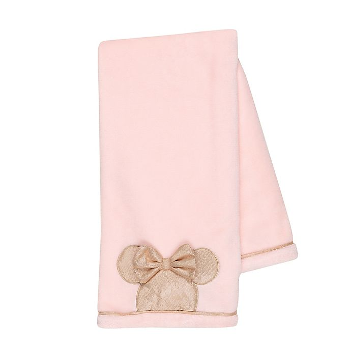 Alternate image 1 for Disney® Minnie Mouse Lux Applique Receiving Blanket in Pink