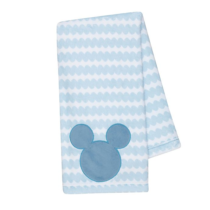 Alternate image 1 for Disney® Mickey Mouse Lux Applique Receiving Blanket in Blue