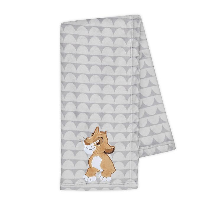 Alternate image 1 for Disney® The Lion King Lux Applique Receiving Blanket in Grey