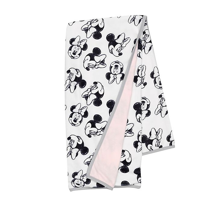 Alternate image 1 for Disney® Minnie Mouse Sketch Receiving Blanket in White/Pink