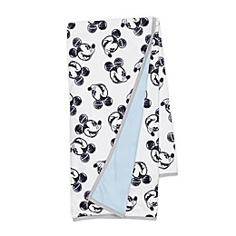Disney® Mickey Mouse Sketch Receiving Blanket in White/Blue