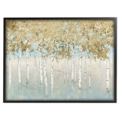 24x24 inch, B Pigort Shining Gold and Green Trees Painting Canvas Wall Art Gold Foil Embellished Wall Decor for Living Room Bedroom Office