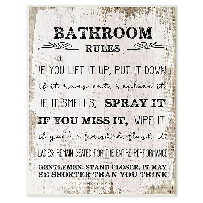 Bathroom Rules Framed Wall Art In White Bed Bath Beyond