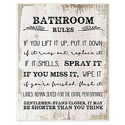 """Bathroom Rules""  Framed Wall Art in White"