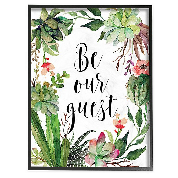 Be Our Guest Floral Wreath Framed Wall Art In Black Bed Bath Beyond