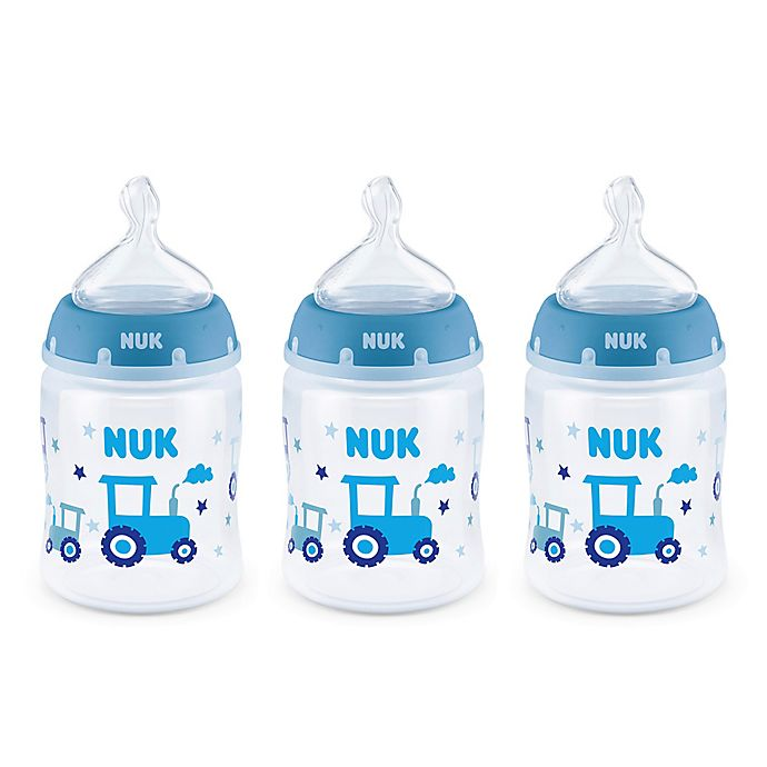 Alternate image 1 for NUK® Smooth Flow™ Tractor 3-Pack 5 oz Anti-Colic Bottle in Blue