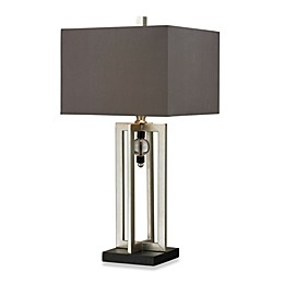Silver Leaf and Black Table Lamp