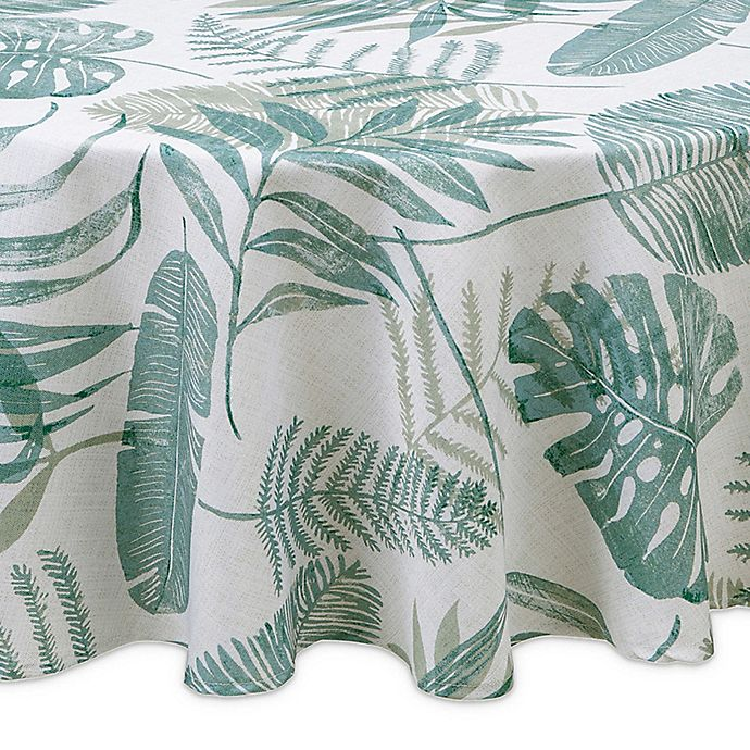 Alternate image 1 for Tranquil Palm Round Indoor/Outdoor Tablecloth