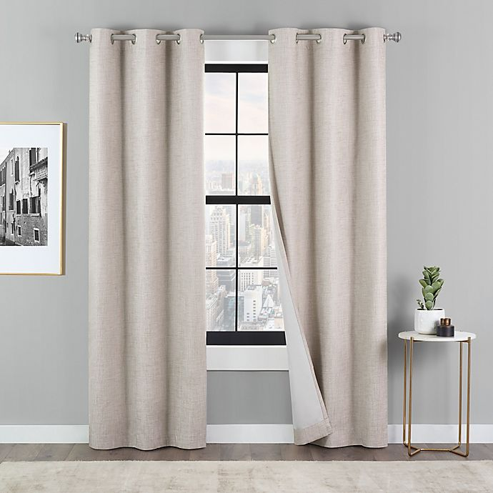 Alternate image 1 for Eclipse Dawson 2-Pack Grommet 100% Blackout Window Curtain Panels in Linen