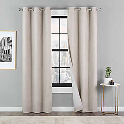 Eclipse Dawson 2-Pack 84-Inch Grommet 100% Blackout Window Curtain Panel in Linen