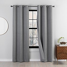 Eclipse Mooreland 2-Pack Grommet Blackout Windor Curtains in Charcoal